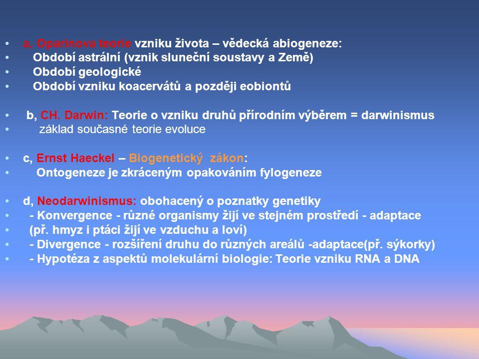 a, Oparinova teorie vzniku života – vědecká abiogeneze: