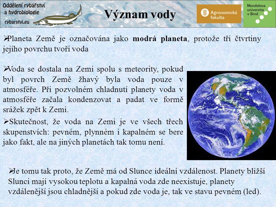 Význam vody Planeta Země je označována jako modrá planeta, protože tři čtvrtiny jejího povrchu tvoří voda.