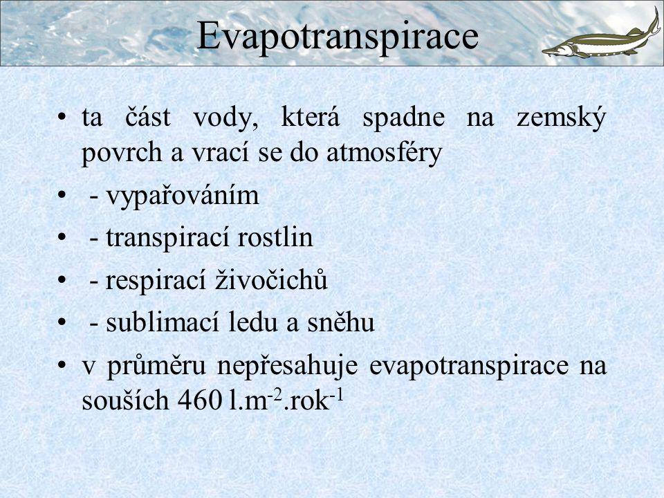 Evapotranspirace ta část vody, která spadne na zemský povrch a vrací se do atmosféry. - vypařováním.