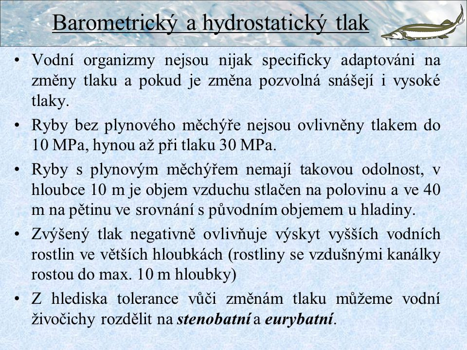 Barometrický a hydrostatický tlak