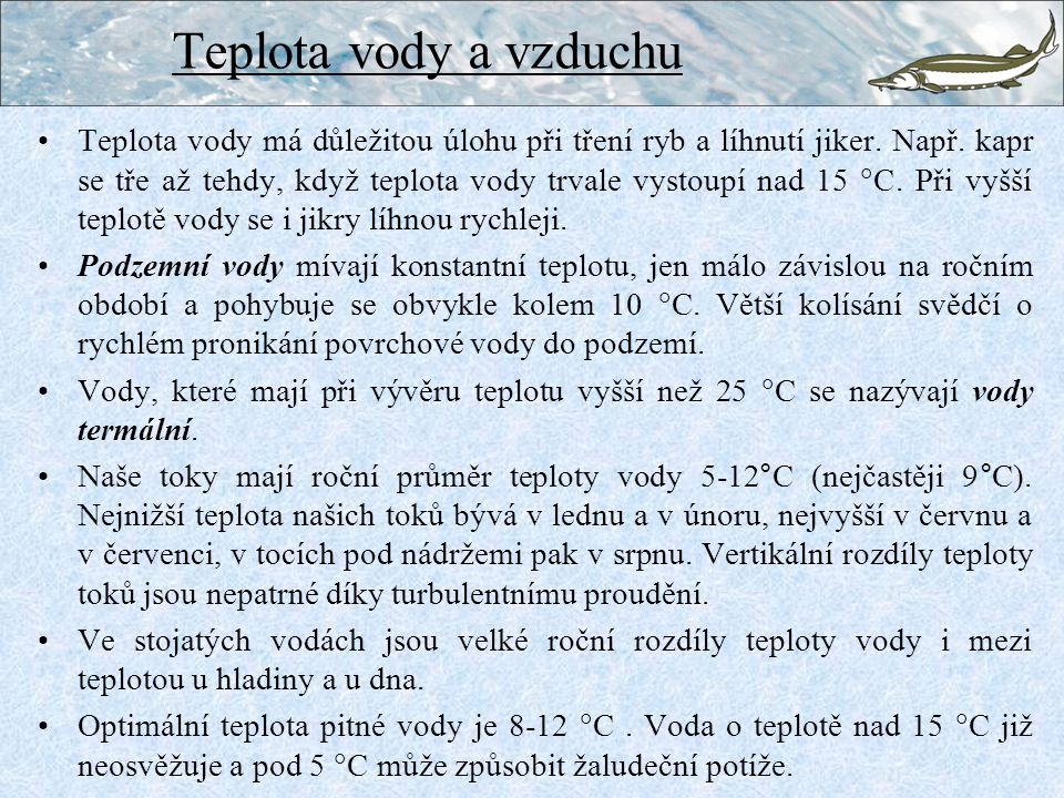 Teplota vody a vzduchu