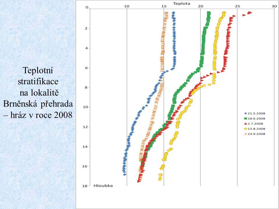 Teplotní stratifikace na lokalitě Brněnská přehrada – hráz v roce 2008