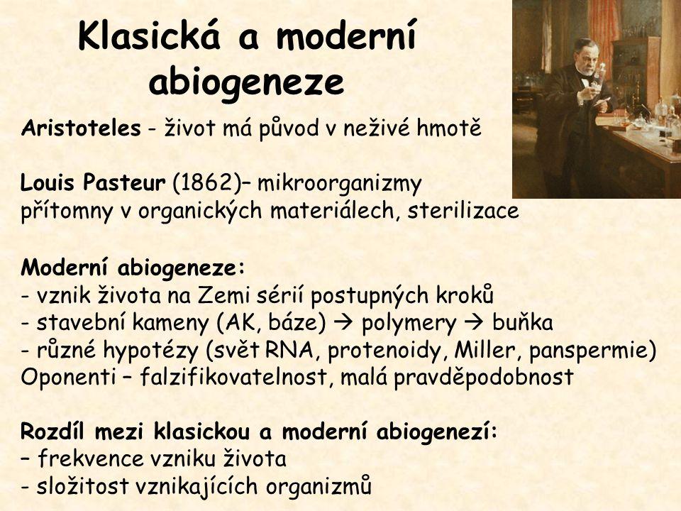 Klasická a moderní abiogeneze