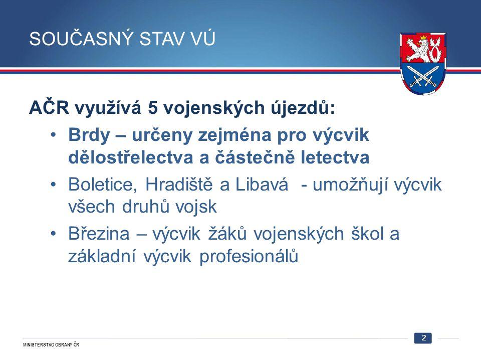 AČR využívá 5 vojenských újezdů: