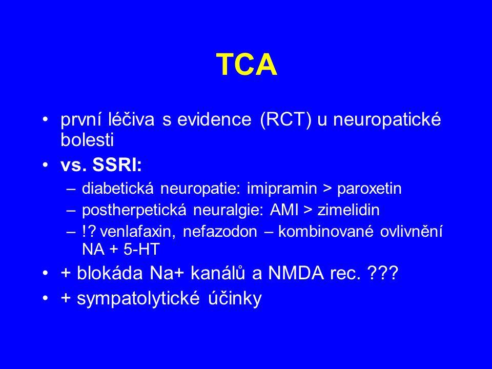TCA první léčiva s evidence (RCT) u neuropatické bolesti vs. SSRI: