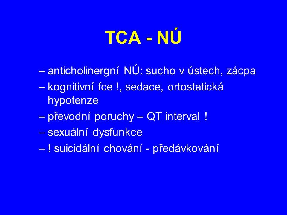 TCA - NÚ anticholinergní NÚ: sucho v ústech, zácpa
