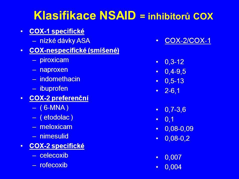 Klasifikace NSAID = inhibitorů COX