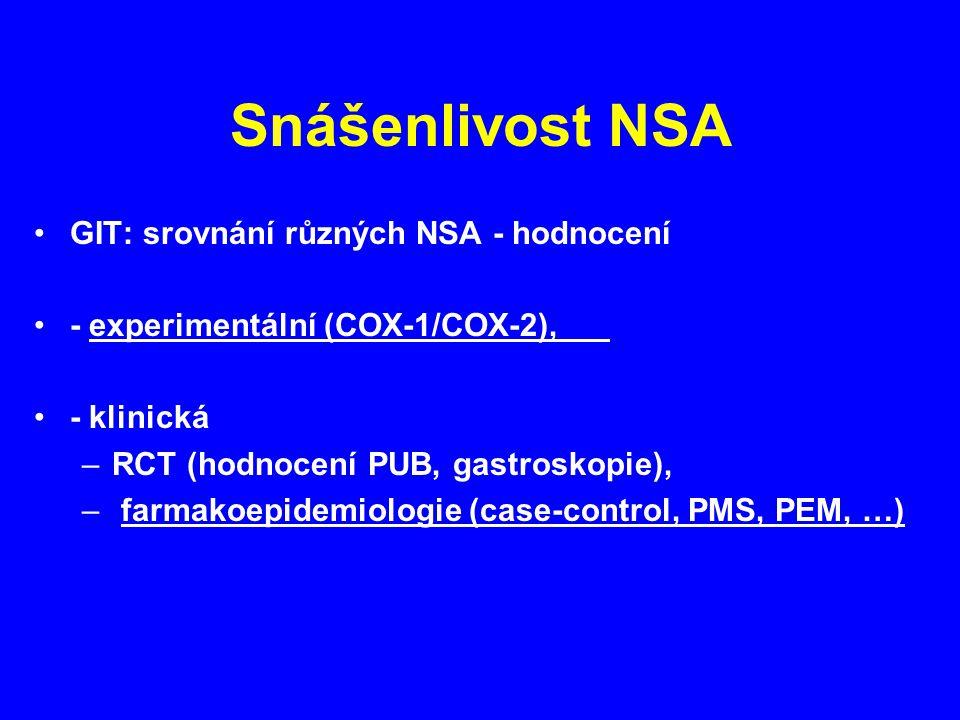 Snášenlivost NSA GIT: srovnání různých NSA - hodnocení