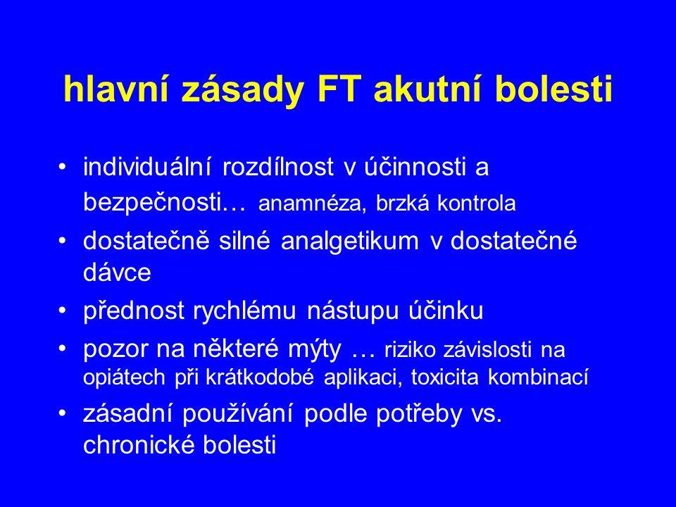 hlavní zásady FT akutní bolesti