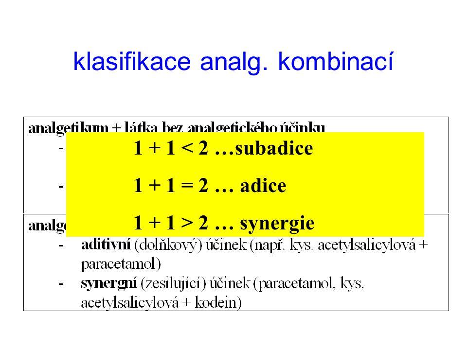 klasifikace analg. kombinací