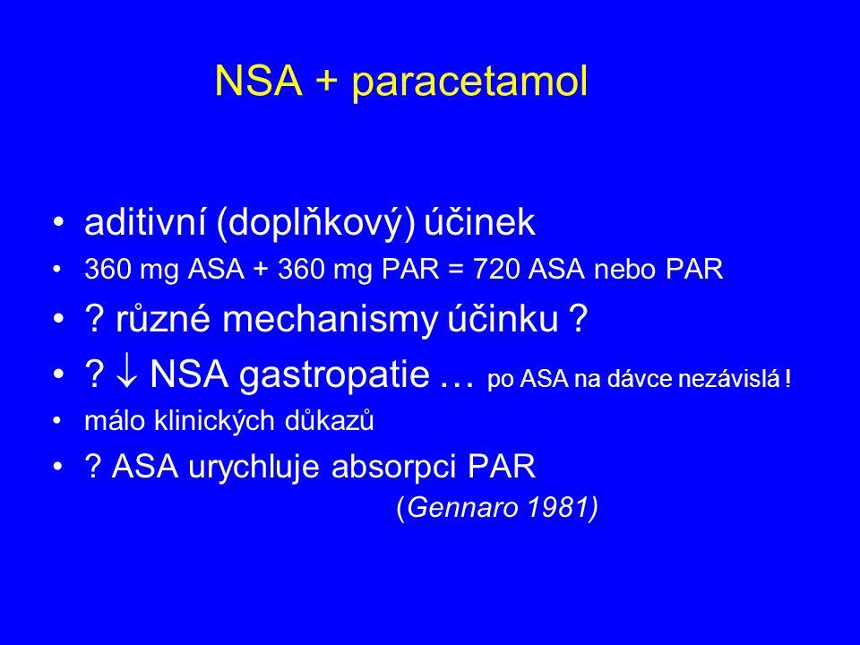 NSA + paracetamol aditivní (doplňkový) účinek