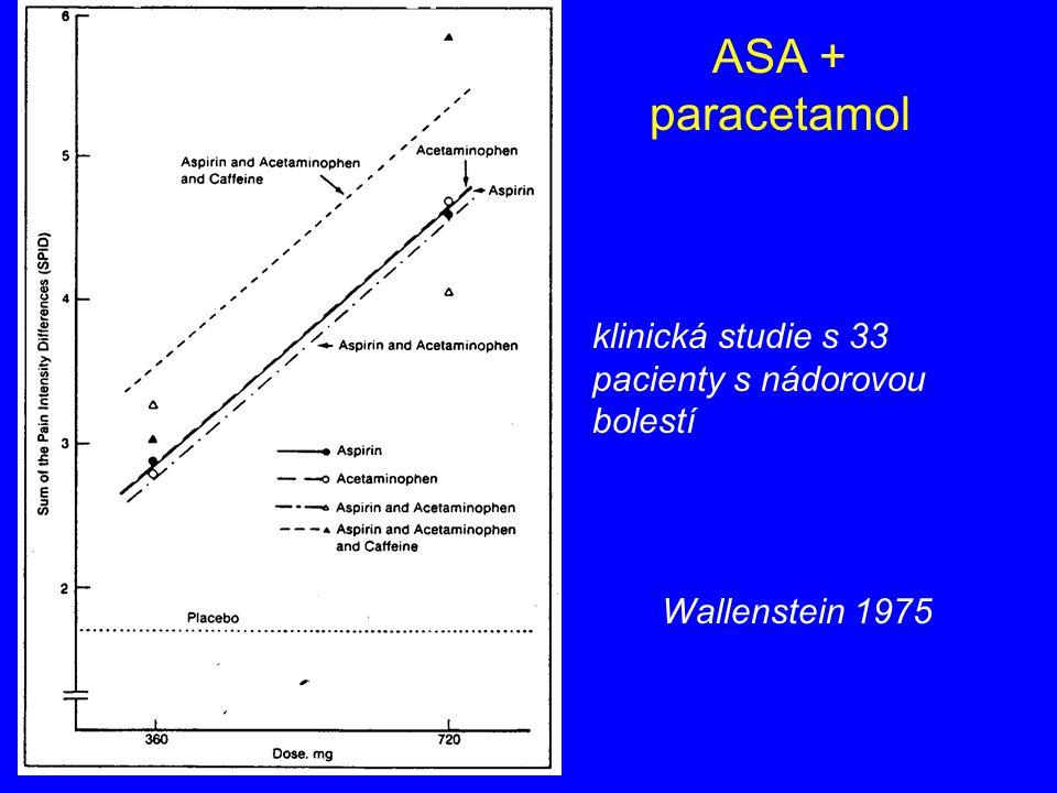 ASA + paracetamol klinická studie s 33 pacienty s nádorovou bolestí
