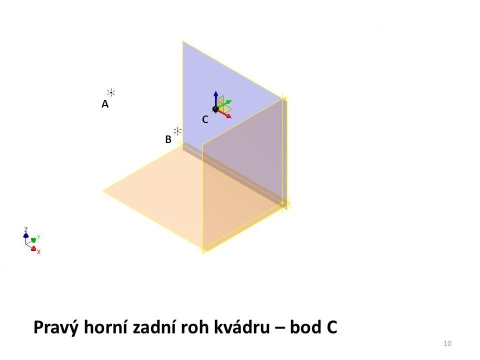 Pravý horní zadní roh kvádru – bod C
