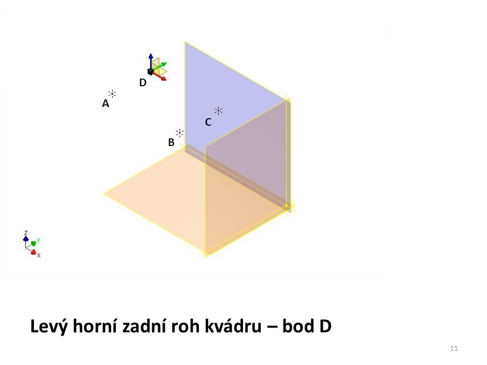 Levý horní zadní roh kvádru – bod D