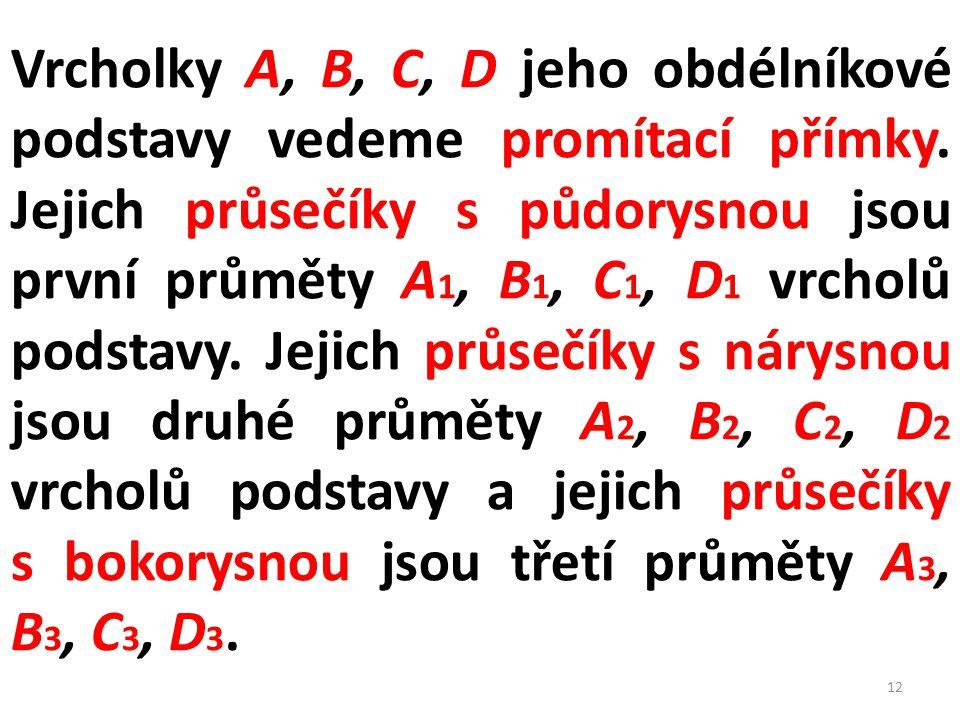 Vrcholky A, B, C, D jeho obdélníkové podstavy vedeme promítací přímky