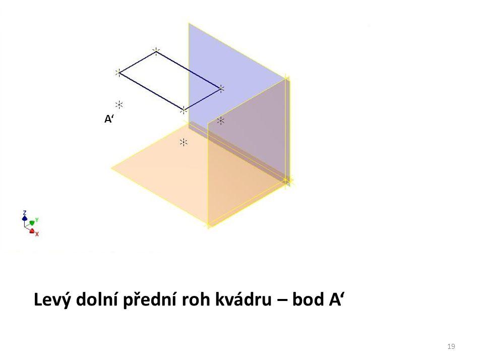Levý dolní přední roh kvádru – bod A'