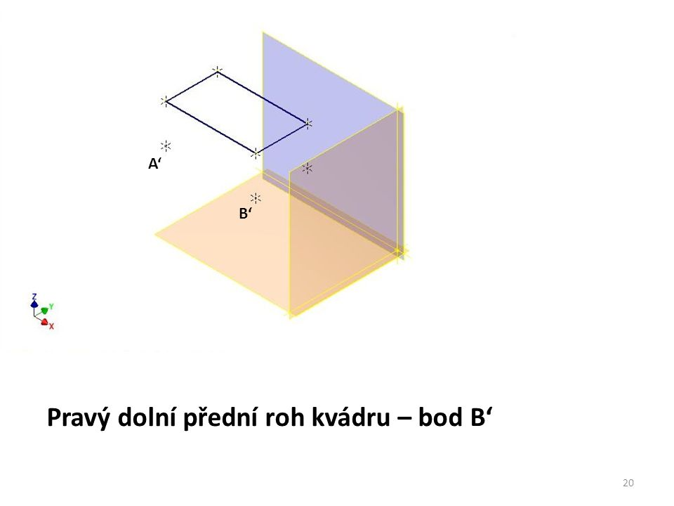 Pravý dolní přední roh kvádru – bod B'