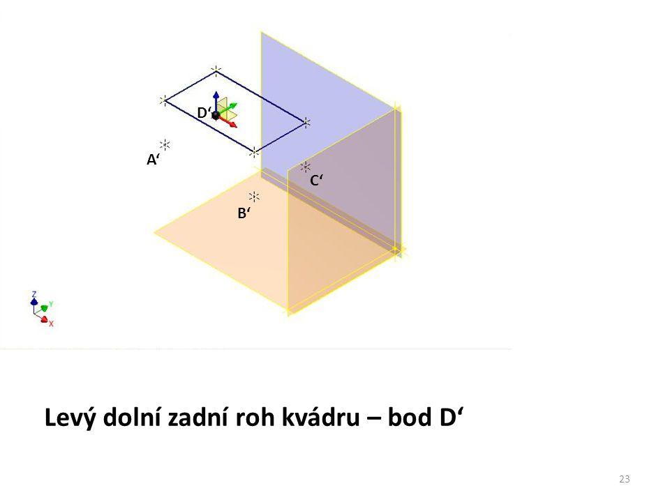 Levý dolní zadní roh kvádru – bod D'