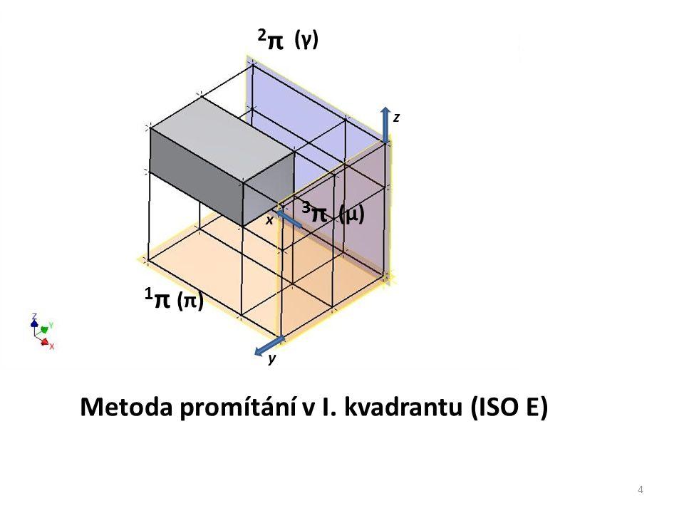 Metoda promítání v I. kvadrantu (ISO E)