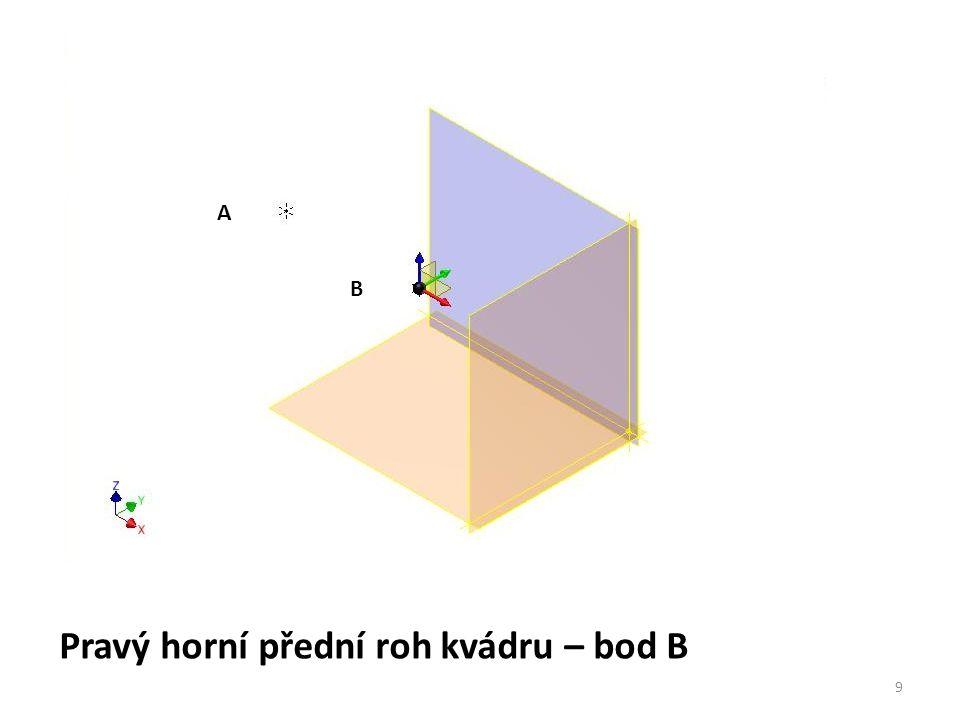 Pravý horní přední roh kvádru – bod B