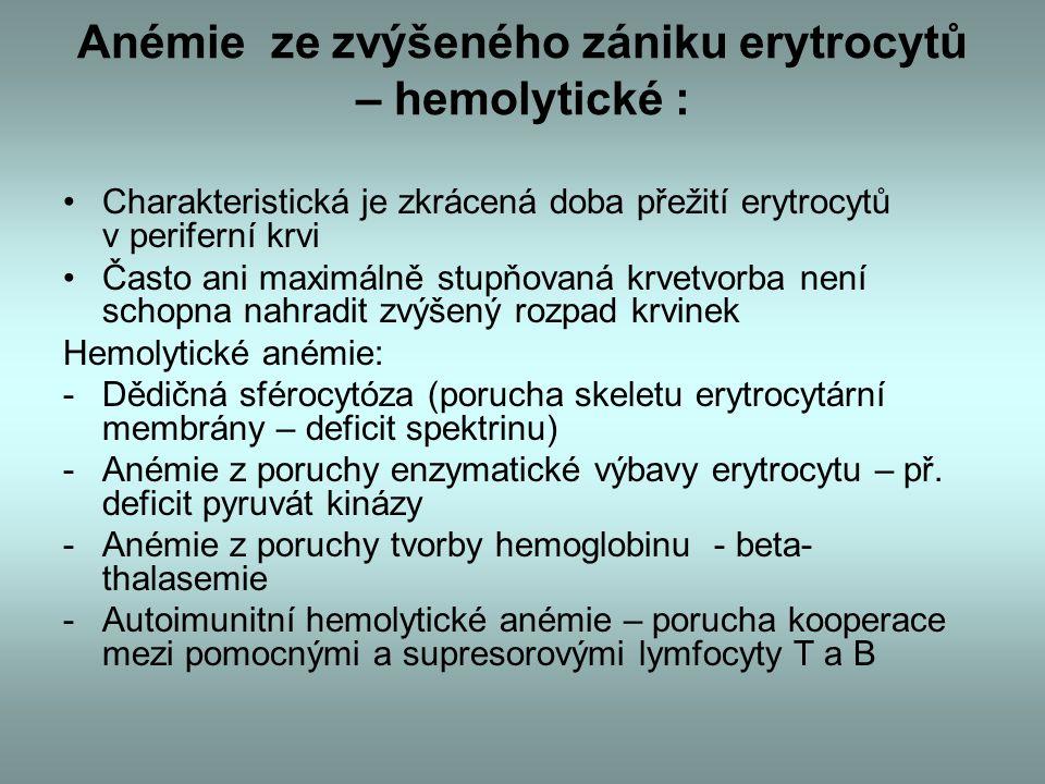 Anémie ze zvýšeného zániku erytrocytů – hemolytické :