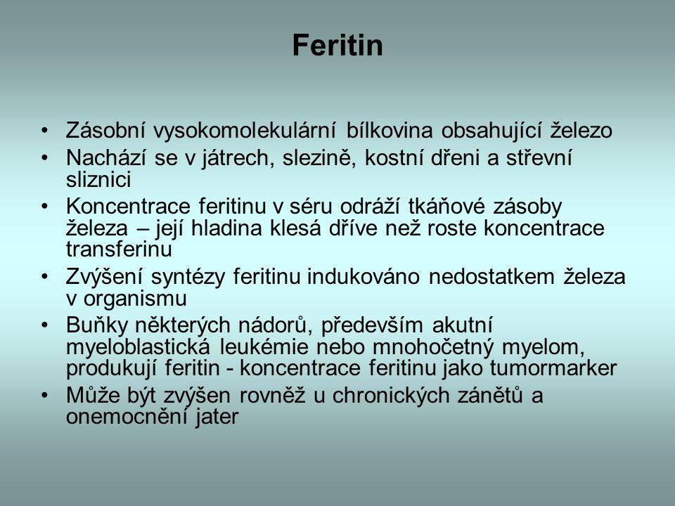 Feritin Zásobní vysokomolekulární bílkovina obsahující železo