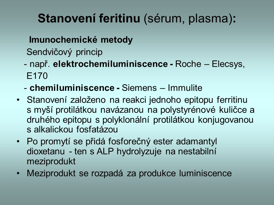 Stanovení feritinu (sérum, plasma):