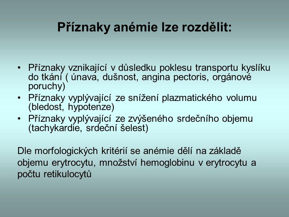 Příznaky anémie lze rozdělit: