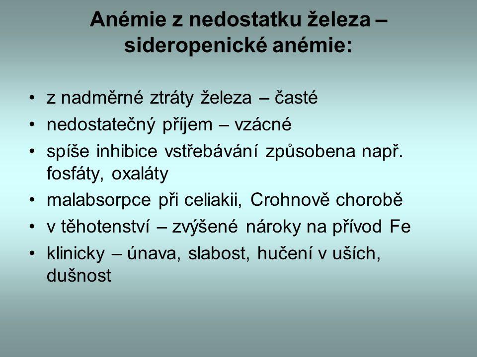 Anémie z nedostatku železa – sideropenické anémie: