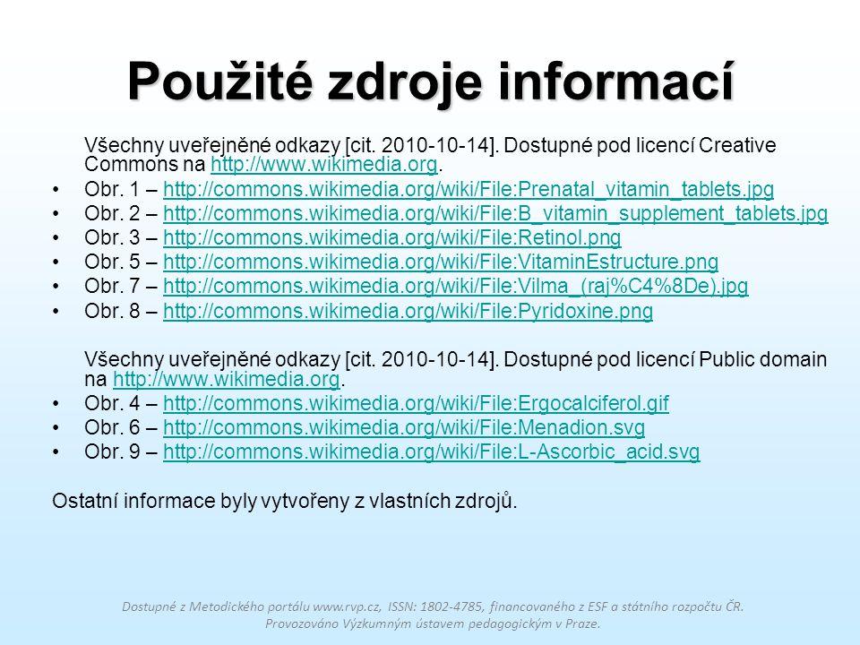 Použité zdroje informací