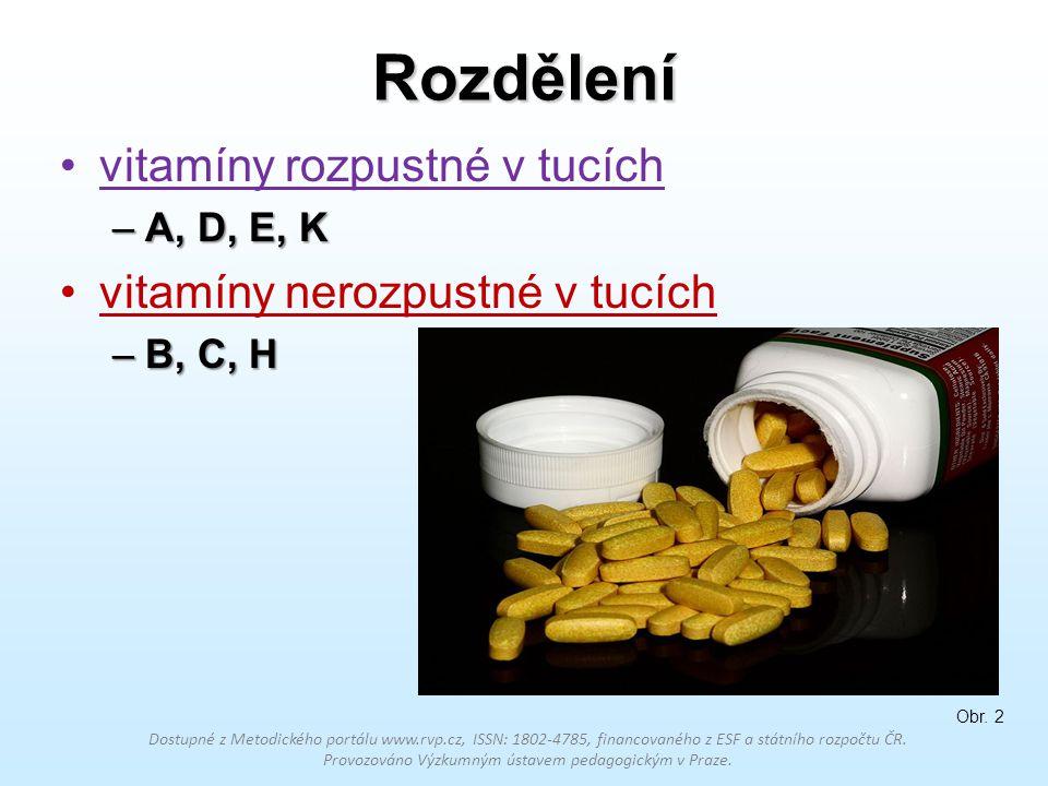 Rozdělení vitamíny rozpustné v tucích vitamíny nerozpustné v tucích