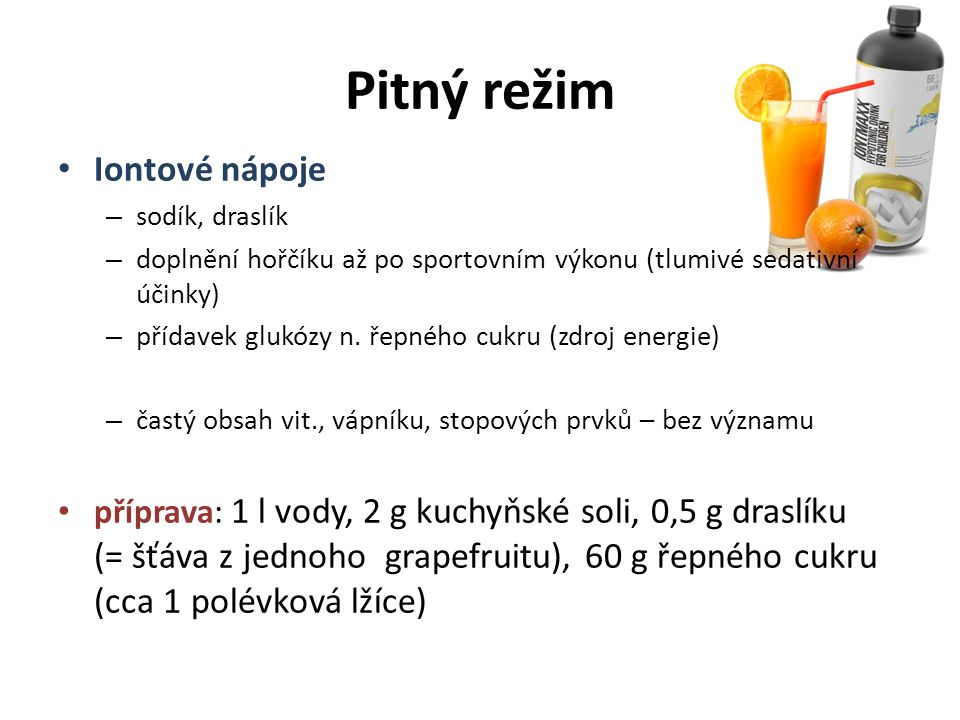 Pitný režim Iontové nápoje