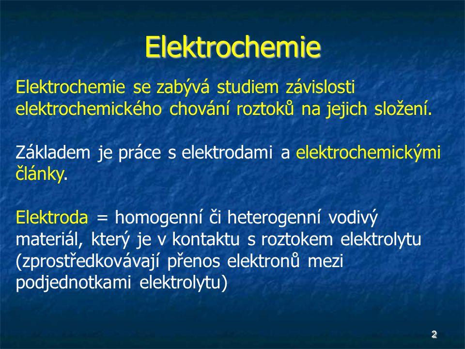 Elektrochemie Elektrochemie se zabývá studiem závislosti elektrochemického chování roztoků na jejich složení.