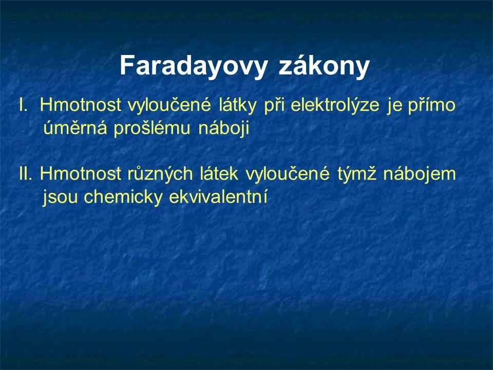 Faradayovy zákony I. Hmotnost vyloučené látky při elektrolýze je přímo úměrná prošlému náboji.