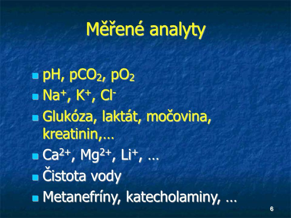 Měřené analyty pH, pCO2, pO2 Na+, K+, Cl-