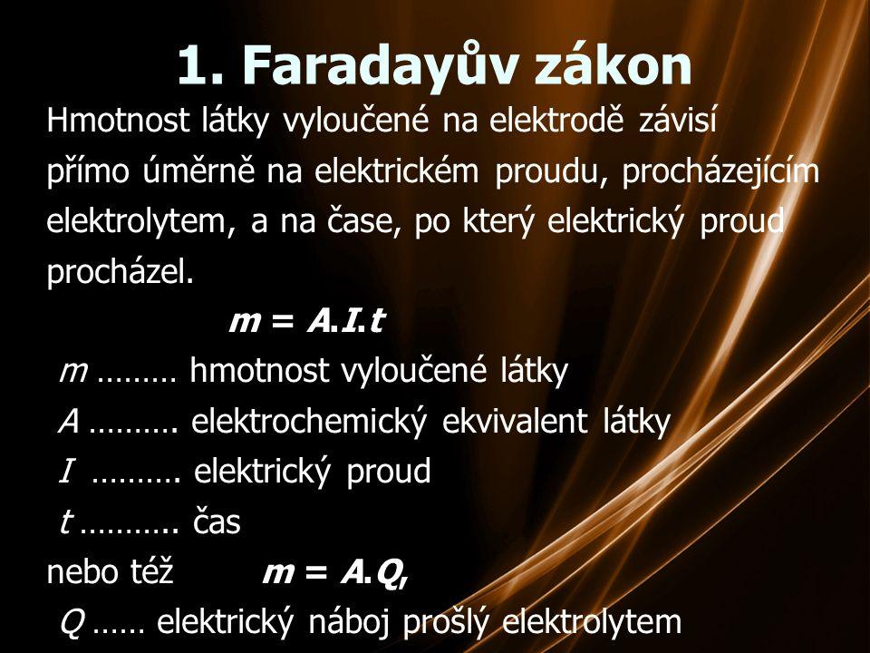 1. Faradayův zákon Hmotnost látky vyloučené na elektrodě závisí