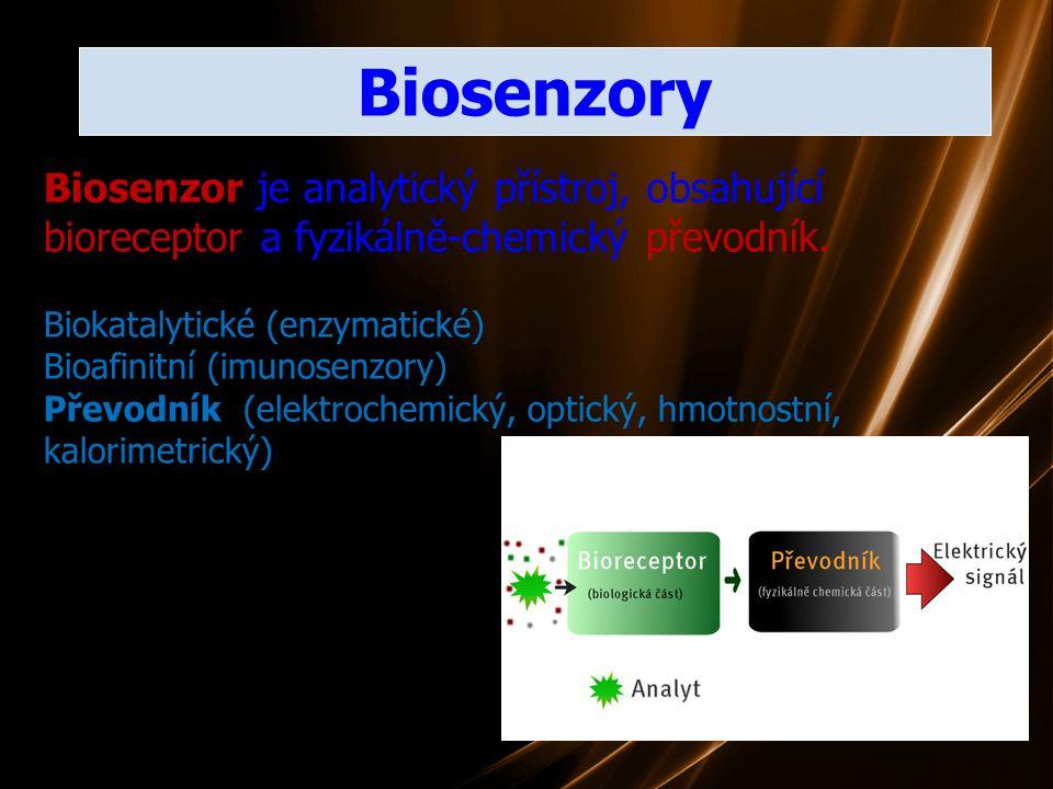 Biosenzory Biosenzor je analytický přístroj, obsahující bioreceptor a fyzikálně-chemický převodník.