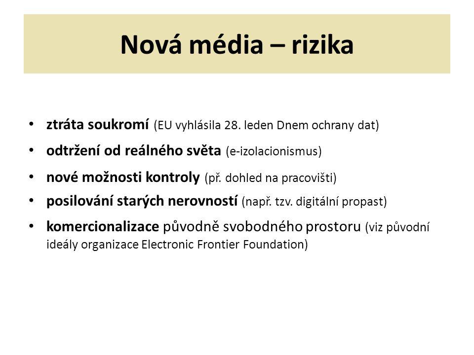Nová média – rizika ztráta soukromí (EU vyhlásila 28. leden Dnem ochrany dat) odtržení od reálného světa (e-izolacionismus)