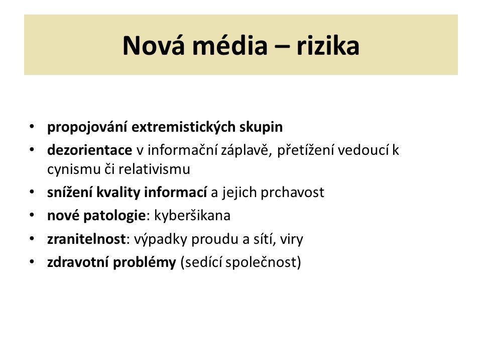 Nová média – rizika propojování extremistických skupin