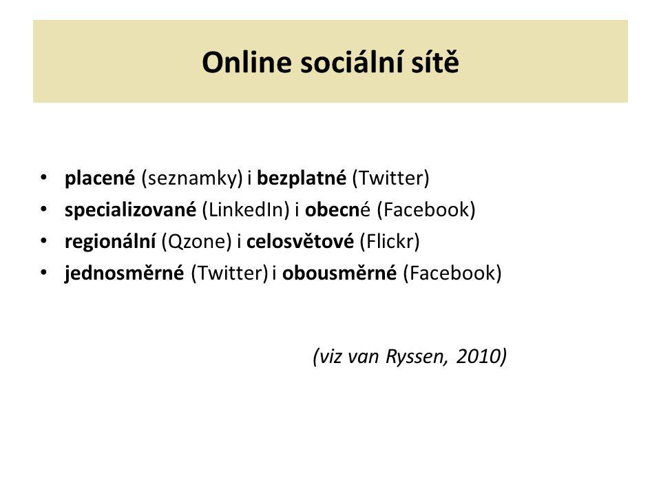 Online sociální sítě (viz van Ryssen, 2010)