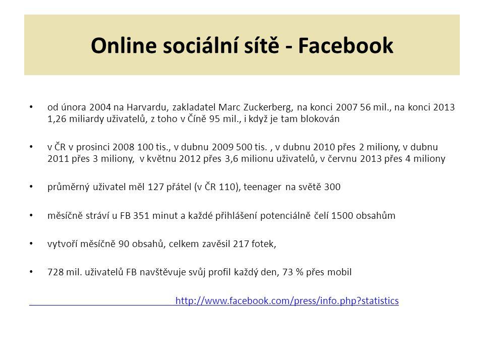 Online sociální sítě - Facebook