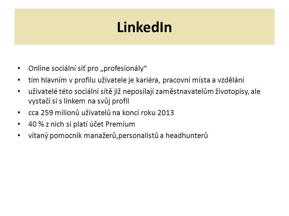 """LinkedIn Online sociální síť pro """"profesionály"""