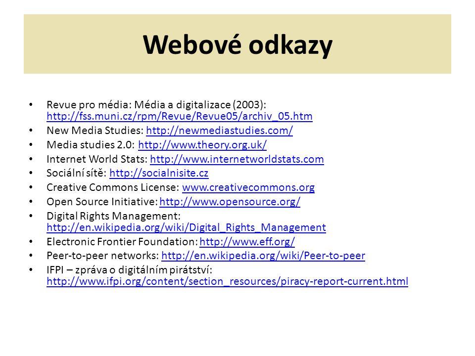 Webové odkazy Revue pro média: Média a digitalizace (2003): http://fss.muni.cz/rpm/Revue/Revue05/archiv_05.htm.
