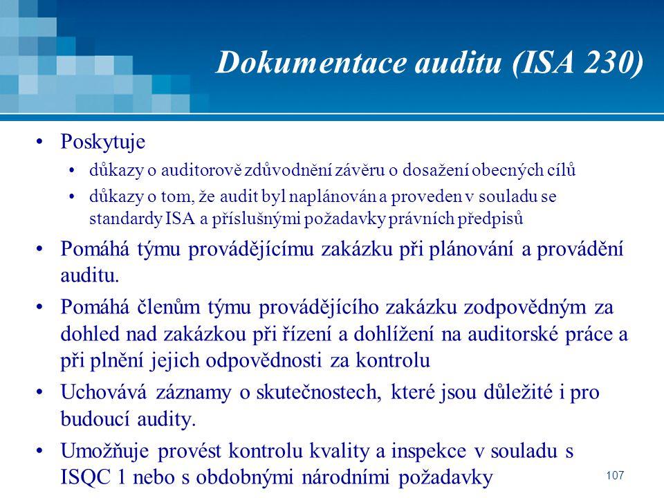 Dokumentace auditu (ISA 230)
