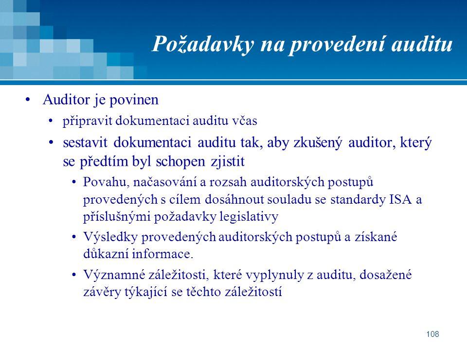 Požadavky na provedení auditu