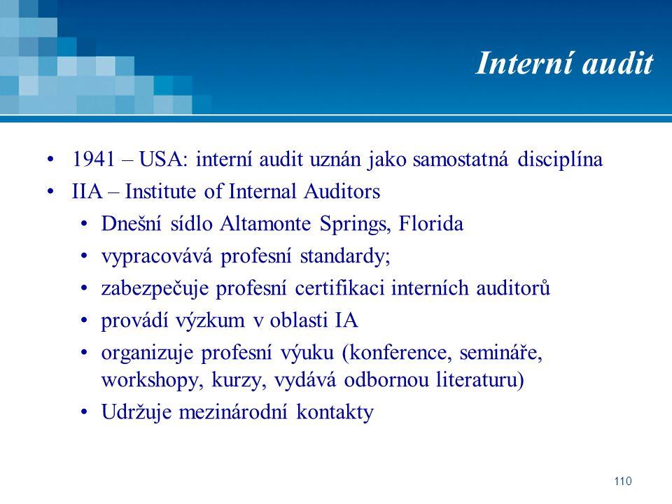 Interní audit 1941 – USA: interní audit uznán jako samostatná disciplína. IIA – Institute of Internal Auditors.