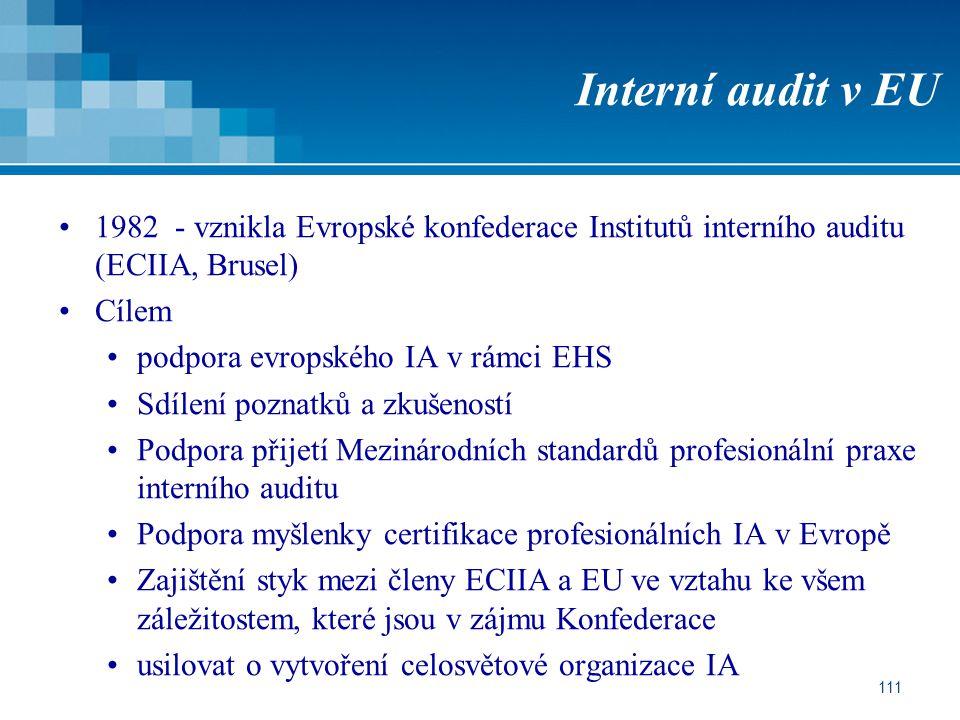 Interní audit v EU 1982 - vznikla Evropské konfederace Institutů interního auditu (ECIIA, Brusel) Cílem.