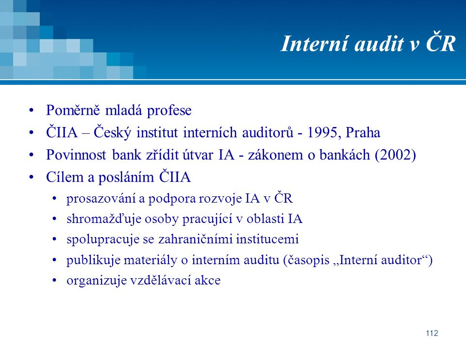 Interní audit v ČR Poměrně mladá profese