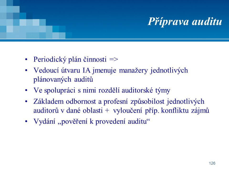 Příprava auditu Periodický plán činnosti =>