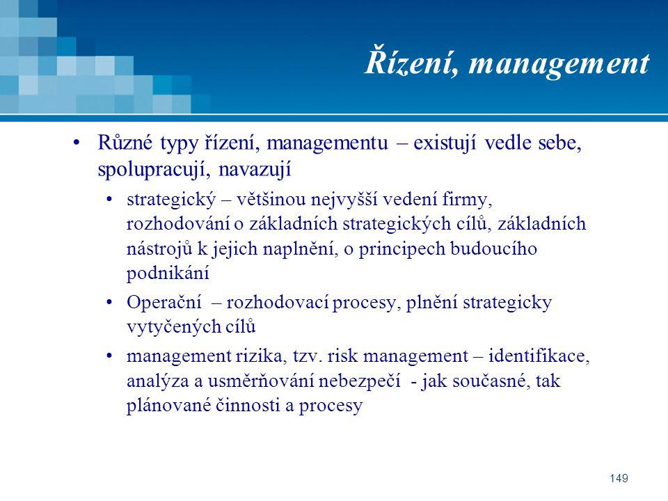 Řízení, management Různé typy řízení, managementu – existují vedle sebe, spolupracují, navazují.